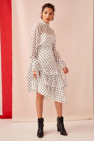 LIMITS SKIRT | IVORY W BLACK POLKADOT