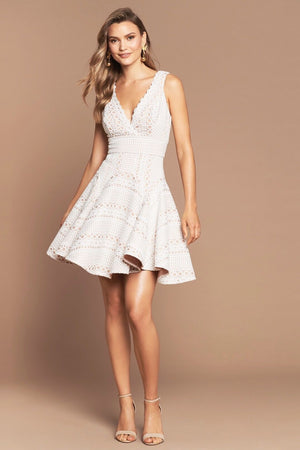 GIGI BONDED LACE DRESS | IVORY/NUDE