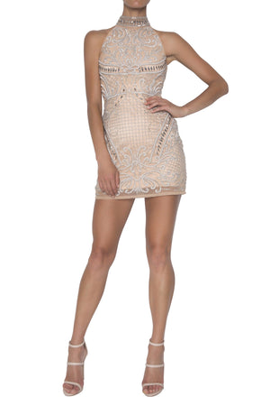 ALORA MINI DRESS | NUDE/SILVER