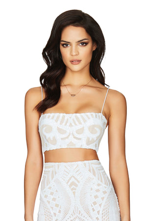MON CHERIE SEQUIN CROP | WHITE