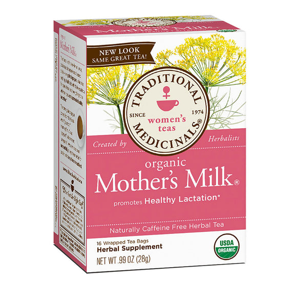 Organic Mother's Milk Lactation Tea, Naturally Caffeine Free, 16 Wrapped Tea Bags