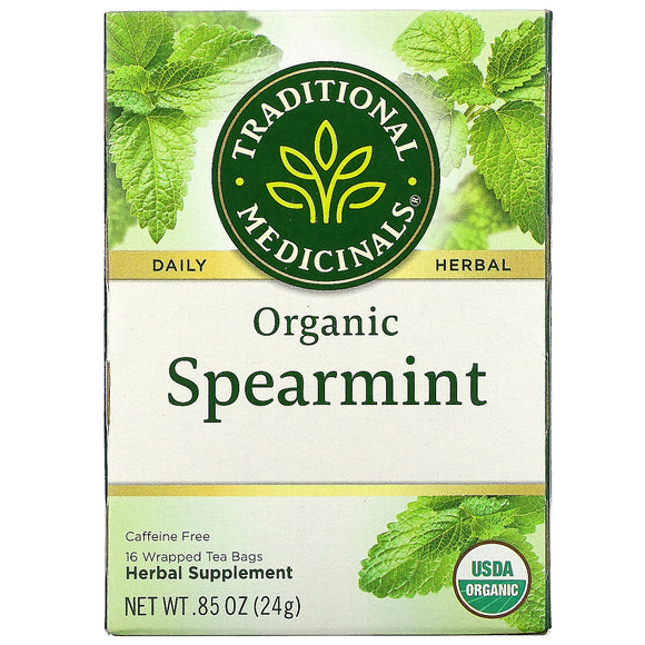 Traditional Medicinals, Organic Spearmint, Caffeine Free, 16 Wrapped Tea Bags, .85 oz (24 g)