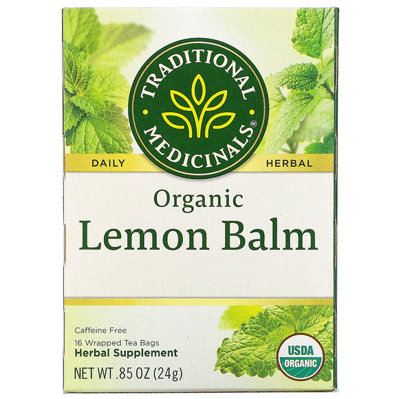 Traditional Medicinals, Organic Lemon Balm, Caffeine Free, 16 Wrapped Tea Bags, .85 oz (24 g)