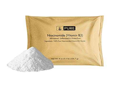 100% Pure Niacinamide (Vitamin B3) Powder, 8oz, 330-Day Supply, No Gluten, Vegan, Flush-Free, Made in The USA, Eco-Friendly Package, 750mg Serving of Unflavored Soluble Niacinamide (Vitamin B3)