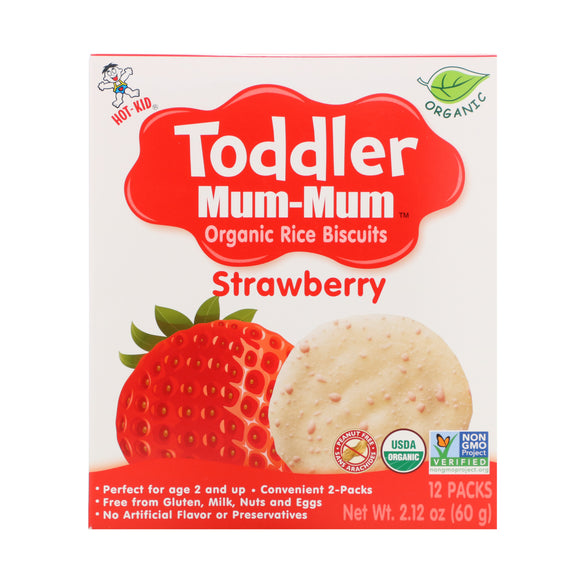 Hot Kid, Toddler Mum-Mum, Organic Rice Biscuits, Strawberry, 12 Packs, 2.12 oz (60 g)