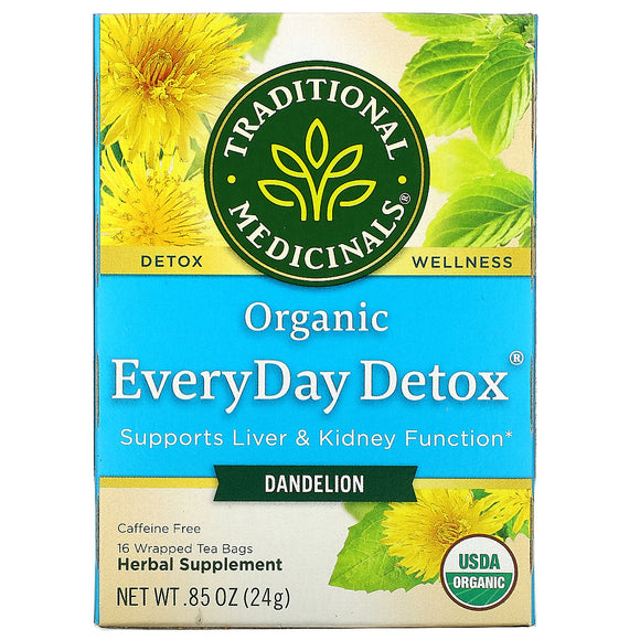 Traditional Medicinals, Organic EveryDay Detox, Dandelion, Caffeine Free, 16 Wrapped Tea Bags, .85 (24 g)