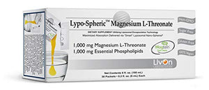Lypo–Spheric Magnesium L–Threonate – 30 Packets – 1,000 mg Magnesium Per Packet – Liposome Encapsulated for Improved Absorption – Professionally Formulated & 100% Non–GMO