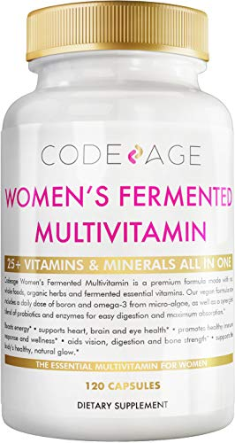 Women's Daily Multivitamin, 25+ Vitamins & Minerals, Fermented, Organic Whole Foods, Probiotics Supplement - Vitamin A, Vitamin B, Vitamins C, D, E & K, Omega 3, Zinc – Natural & Vegan - 120 Capsules