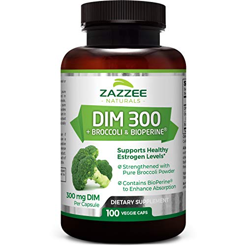 Zazzee DIM 300 mg, 100 Vegan Capsules, Plus 10 mg BioPerine, 100 Day Supply, Plus Pure Organic Broccoli Extract, Vegan and Non-GMO, 300 mg of DIM per Capsule
