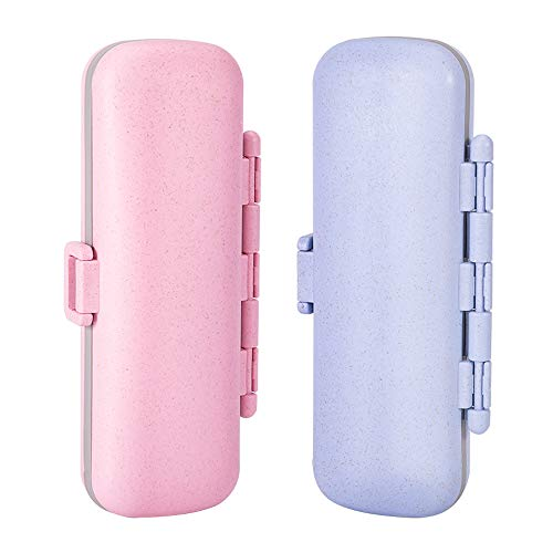 2 Pack Travel Pill Organizer 7 Compartments, Pill Box Case for Purse or Pocket, Moisture-Proof Daily Pill Organizer, Small Pill Case Cute Medicine Organizer for Vitamin/Medication (Pink&Blue)