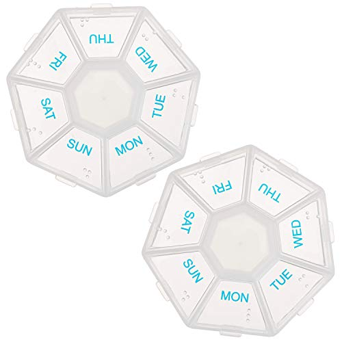 2-Pack 7-Sided Portable Pill Box Medicine Planner Small case (Seven Day Weekly Travel Container) Medication, Vitamin Holder Boxes Organizer Pillbox Dispenser Organizer, sorter and Reminder containers
