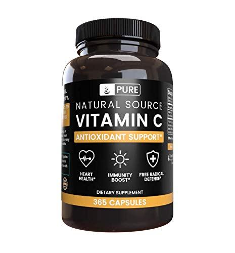 100% Pure Vitamin C, 365 Capsules, 6 Month Supply, No Stearates or Rice Fillers, Healthy Immunity, Gluten-Free, Naturally Sourced Vitamin C with No Additives