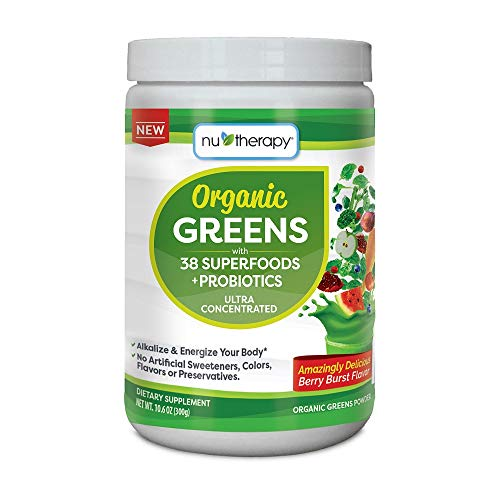 Nu-Therapy Organic Greens Superfood Powder, With probiotics, Berry Burst Flavor, 300g