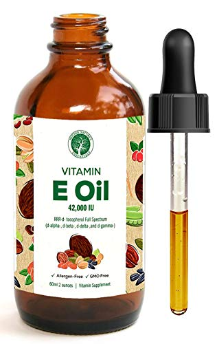 100% Natural Vitamin E Oil by Mother Nature's Essentials 42,000 IU Food Grade This E Oil is Dark Amber in Color Sourced and Made in the USA The Best Vitamin E Oil on Amazon (2 oz)