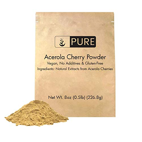 Acerola Cherry Powder (8 oz, ½ TSP per Serving) by Pure Organic Ingredients, 100% Pure, Rich in Vitamin C & Immunity Boosting, All-Natural, Gluten-Free, Eco-Friendly Packaging