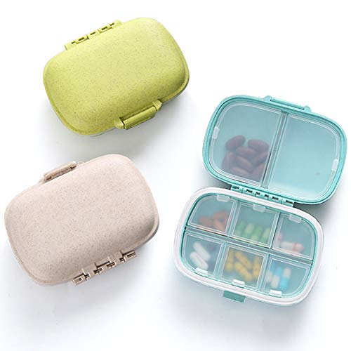 3 Pack 8 Compartments Travel Pill Organizer Moisture Proof Small Pill Box for Pocket Purse Daily Pill Case Portable Medicine Vitamin Holder Container (Blue+Green+Khaki)