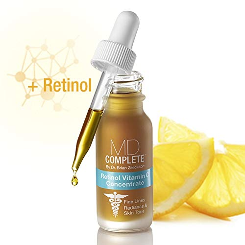 MD Complete Retinol Vitamin C Concentrate Retinol Serum for Face Vitamin C Serum for Face and Skin Anti Aging Radiance and Skin Tone