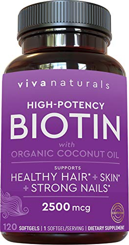 Biotin 2500mcg - Support for Healthy Hair Skin Nails, High Potency Biotin Made with Organic Coconut Oil, 120 softgels