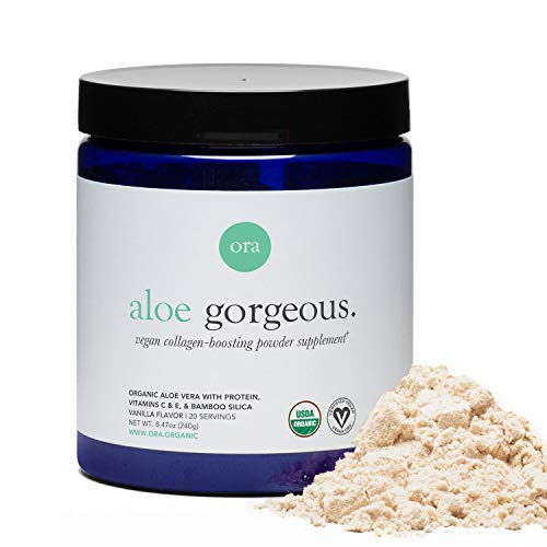 Ora Organic Vegan Collagen-Boosting Powder for Women and Men - Hair, Skin, & Nails Support - Bamboo Silica, Plant-Based Protein, Organic Vitamin C, Aloe Vera - Vanilla Flavor, 20 Servings