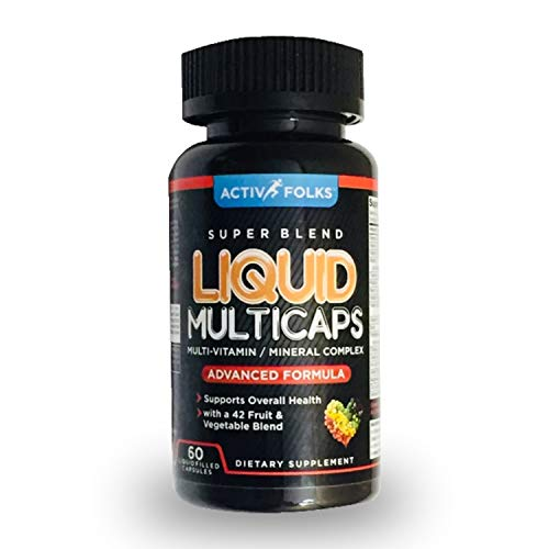 Activ Folks Liquid Multivitamin for Men and Women with 42 Veggies & Fruits and Vitamin A, C, D3, E, B6, B12, Zinc & More Supports Stress, Immunity & Energy, Mood, Muscle Strength 60 Liquid Caps