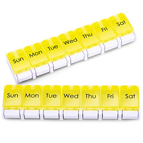 2-Pack Large Weekly Pill Organizer 1 Times a Day, 7 Day AM PM Pill Case, Weekly Medicine Organizer Twice a Day, Oversized Daily Medication Organizer for Vitamin Supplement and Big Fish Oil.(Yellow)