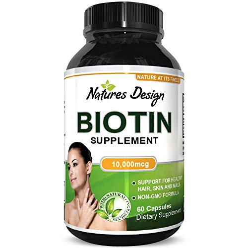 10000 mcg Pure Biotin Pills for Women Men - Stop Hair Loss Thinning All Natural Supplement for Shiny Thick Hair Growth - Vegetarian Vitamin Capsules - Get Clear Skin Strong Nails by Natures Craft