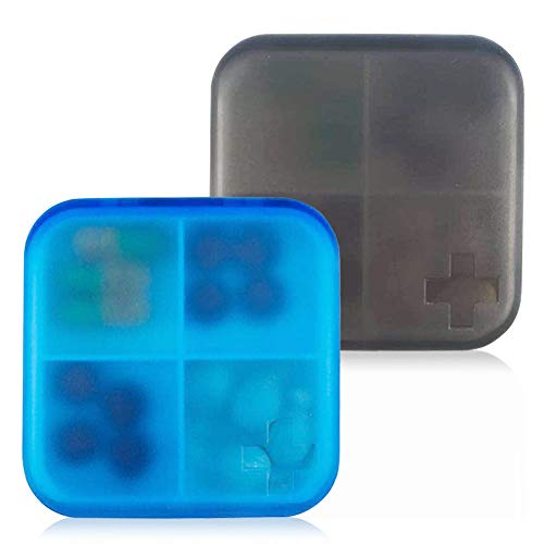 2 Pack Portable Travel Pill Organizer Case for Pocket or Purse Cute Small Daily Pill Box BPA Free Plastic Medicine Vitamin Holder Container (4 Compartments)
