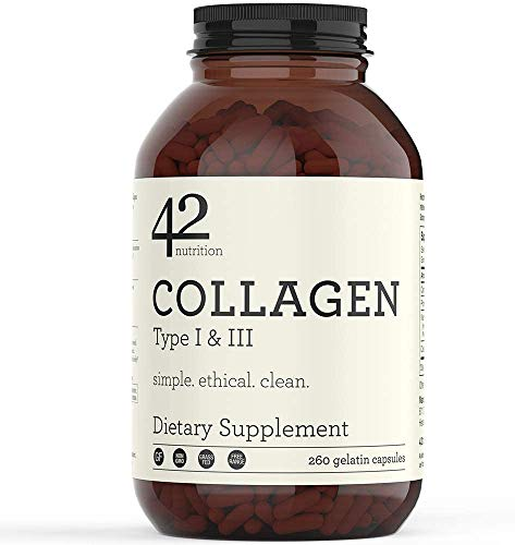 42Nutrition Collagen Pills Type I and III Supplements - 260 Gelatin Capsules with Vitamin C and Essential Amino Acids for Healthy Hair Skin Bones and Muscles - Gluten Free Non-GMO and Grass Fed