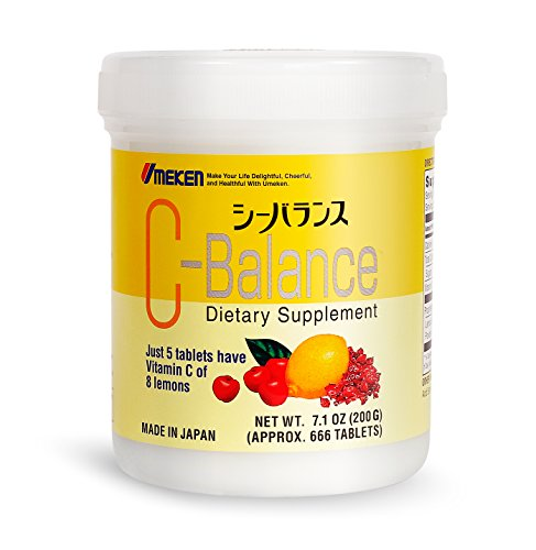(Six Pack) Umeken C-Balance (200g) - High Potency Vitamin C containing antioxidants, Citric Acid, Gamma-linolenic Acid. Chewable, Great for Kids. Made in Japan.