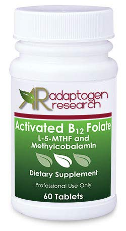 2 Bottles of Activated B12 Folate 60 lozenges · High Potency L-5-MTHF and Methylcobalamin · by Adaptogen Research Pharmaceutical Grade