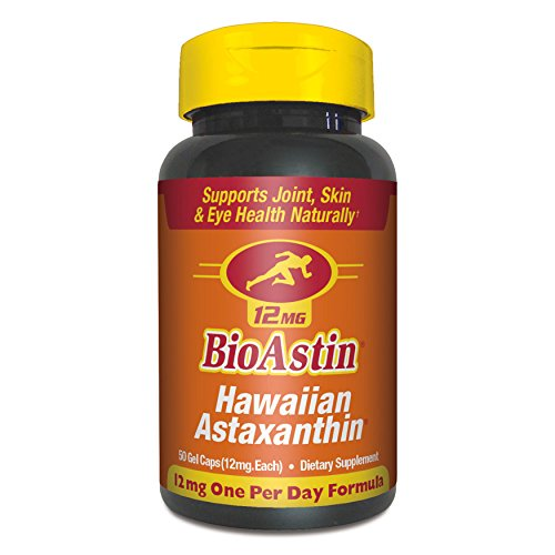 BioAstin Hawaiian Astaxanthin 12mg, 50 Vegan Caps - Supports Recovery from Exercise + Joint, Skin, Eye Health Naturally -