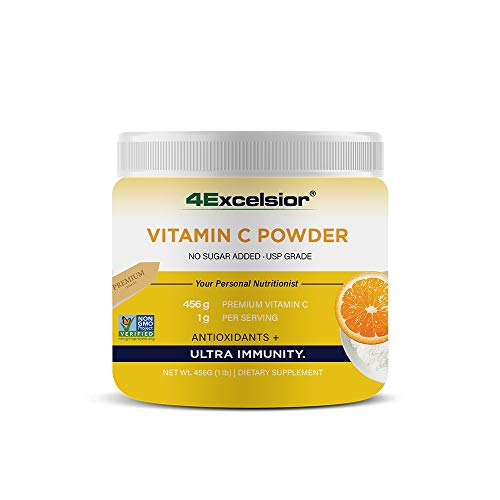 4Excelsior Vitamin C Powder - 1000mg Per Serving – 1LB - 456 Servings Supply – High Absorption Ascorbic Acid– Super Immune Support – Powerful Antioxidant - All Natural Ingredients