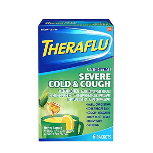 Theraflu Nighttime Severe Cold & Cough Honey Lemon Infused with Chamomile & White Tea 6 Packet