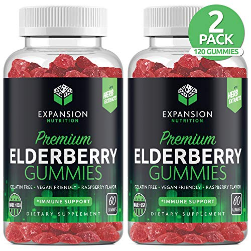 (2 Pack | 120 Gummies) Sambucus Organic Elderberry Gummies | Immune Gummy with Vitamin C, Propolis & Echinacea | Immune System Booster Herbal Supplement