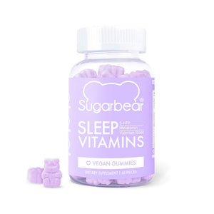 SugarBear Sleep, Vegan Gummy Vitamins with Melatonin, 5-HTP, Magnesium, L-Theanine, Valerian Root, Lemon Balm (1 Month Supply)