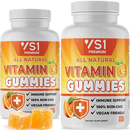 (2 Pack) Vitamin C Gummies with Echinacea for Immune Support Booster Supplement for Adults Kids, Immunity Support System - Gluten Free, Organic, Vegan, Citrus Orange Pectin Gummy by VS1