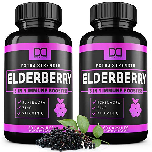 (120 Capsules) Elderberry Capsules Pills with Zinc, Vitamin C, Echinacea Extract Formulated for Immune System Support - Infused Syrup Supplement for Kids, Adults, Toddlers, and Elderly - (2 Pack)