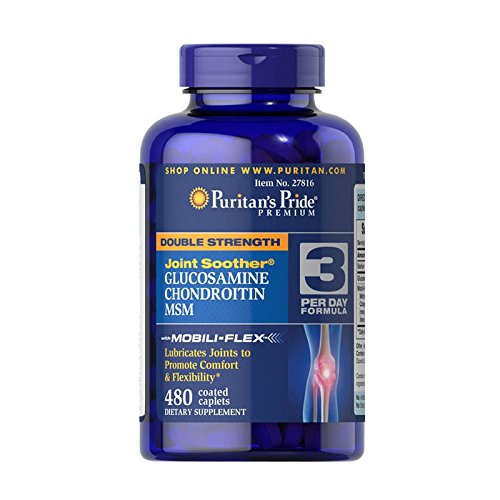 Puritan's Pride Double Strength Glucosamine, Chondroitin & MSM Joint Soother-480 Caplets (2 bottles of 240 each = 480 caplets)