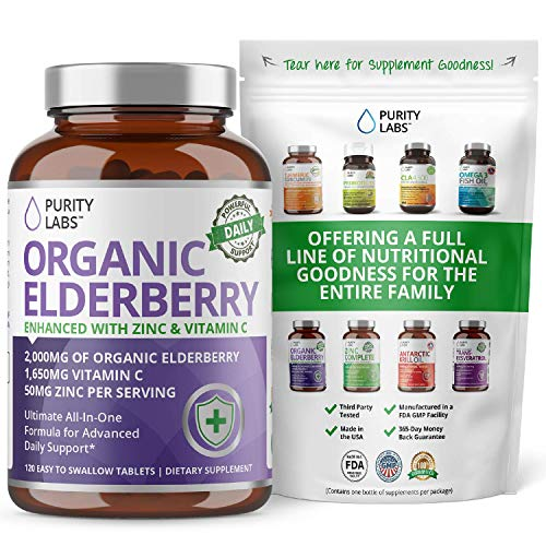 Organic Elderberry 3,750MG. Highest Quality and Potency Available - Three-in-One Formula - 2,000MG Organic Elderberry, 1,650MG Vitamin C and 50MG Zinc Gluconate Per Serving