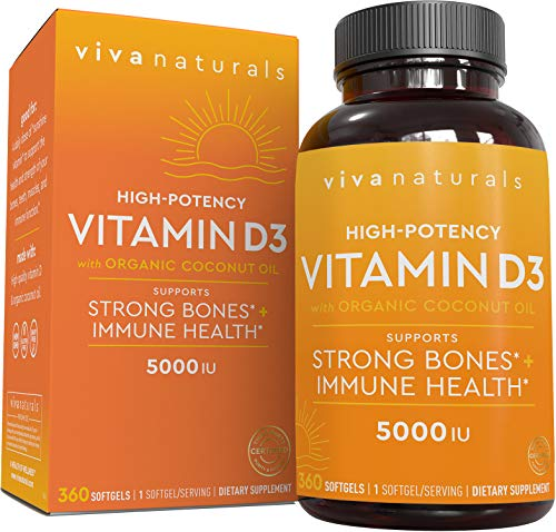 Vitamin D3 5000 IU (360 Softgels) - High Potency Vitamin D Supplements for Healthy Immune Function, Bones & Muscles, Made with Organic Coconut Oil