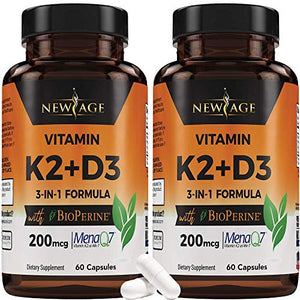 (2-Pack) Vitamin K2 (MK7) with Vitamin D3 Supplement with BioPerine - K2D3 Comlex 3-in-1 Formula Support for Your Heart, Bones & Joints | Vegan, GMO & Gluten Free -120 Veggie Capsules