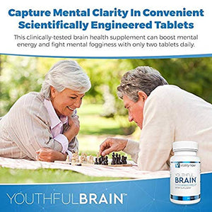 Youthful Brain Memory & Brain Health Supplement - Doctor Formulated Brain Booster with Bacopa Monnieri, Ginkgo Biloba, B12 - Easy to Swallow Tablets - 30-Day Supply (60 Count)