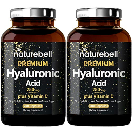 2 Pack NatureBell Hyaluronic Acid Supplement, 250mg Hyaluronic Acid with 25mg Vitamin C Per Serving, 200 Capsules, Supports Skin Hydration, Joints Lubrication and Antioxidant. No GMOs and Made in USA.