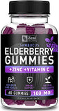 100% Natural Sambucus Elderberry Gummies for Kids & Adults (60 Count | 100mg) w/ Coconut Oil, Zinc and Vitamin C - Immune System Booster for Kids & Adults - Immune Support Gummy Vitamins