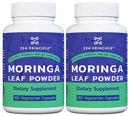 2 Pack (360 Capsules) Organic Moringa Oleifera, Ultra-Premium. Provides an All Natural Energy Boost and Multi-Vitamin. A Raw Superfood, Vegan, No GMO and Gluten Free