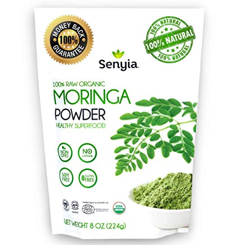 100% Pure Organic Moringa Leaf Powder - Green Superfood Vegan Raw Nutrition - Complete Vegetarian Plant Protein, Energy Booster, Antioxidant, Amino Acids, Weight Loss, Keto Diet Vitamin Supplement