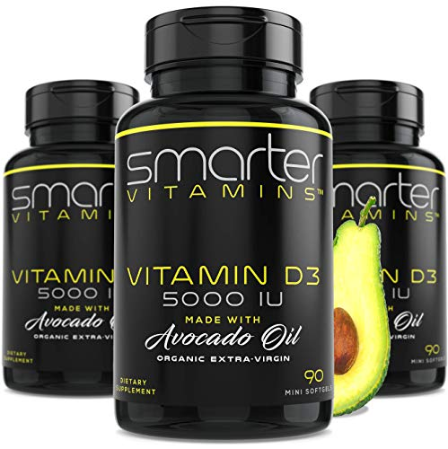 Smarter Vitamin D3 5000 IU in USDA Certified Organic Avocado Oil, 270 Mini Softgels, Non-GMO, Soy Free, 125mcg, Gluten Free, Supports Healthy Bones and Immune Function, 9 Month Supply