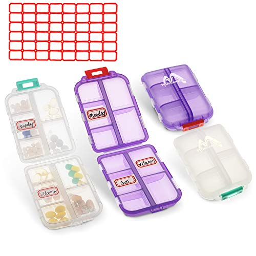 2 Pack Pill case Travel Pill Organizer, Pill Box for Purse Vitamin Fish Oil 10 Compartments Container Medicine Box by Muchengbao