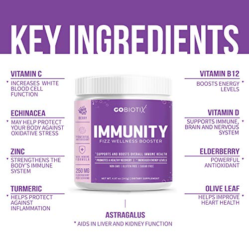 GoBiotix Immunity Fizz Wellness – Vegan Antioxidant Immunity Powder | Organic Super-Food Extract | Elderberry, Turmeric, Vitamin C, D, B12 ● Non-GMO, Free of Soy, Gluten & Sugar (Berry))