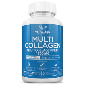 Collagen Pills - All 5 Types of Food Sourced Collagen - Helps with Digestion - Anti Aging, Bones & Joints and Hair Skin Nails - Grass Fed and Certified Wild Fish - 100% Hydrolized for Absorption